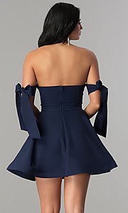 Image of off-the-shoulder short graduation party dress.  Style: LUX-LD3819 Back Image