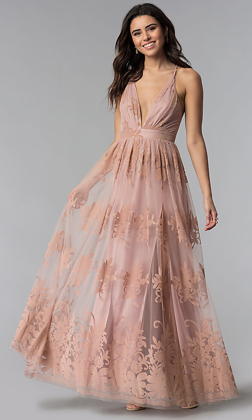 Image of illusion long formal dress with low v-neck and slits. Style: LUX-LD3452 Detail Image 1
