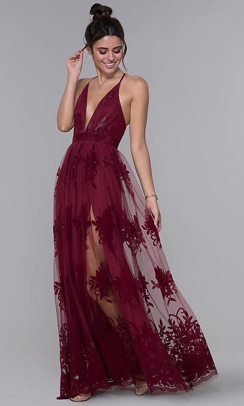 Long Illusion Formal Dress With Low V Neckline