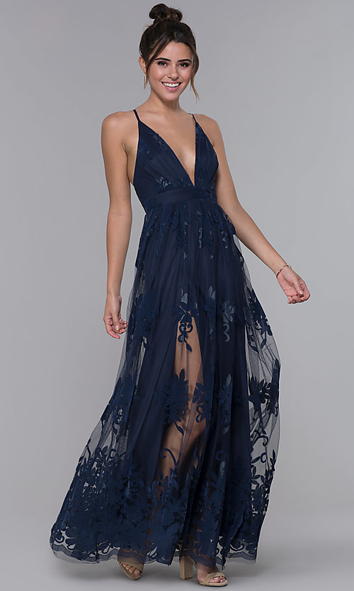Image of illusion long formal dress with low v-neck and slits. Style: LUX-LD3452 Detail Image 2