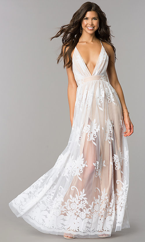 Image of illusion long formal dress with low v-neck and slits. Style: LUX-LD3452 Front Image