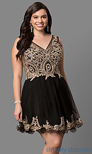 Image of short plus-size semi-formal party dress with beading. Style: DQ-9422P Front Image