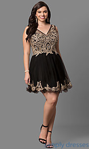 Image of short plus-size semi-formal party dress with beading. Style: DQ-9422P Detail Image 2