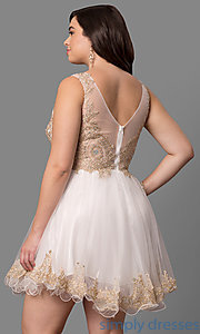 Image of short plus-size semi-formal party dress with beading. Style: DQ-9422P Back Image