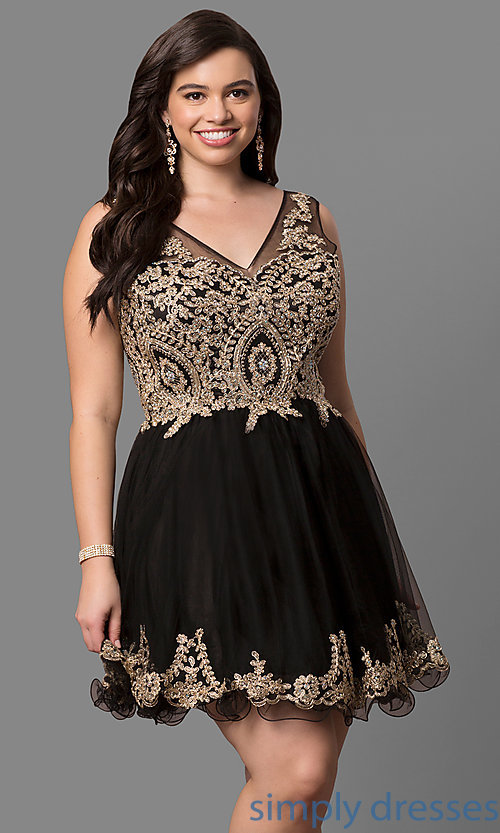 Plus-Size Short Semi-Formal Party Dress
