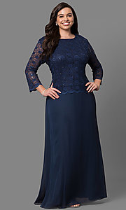 Image of plus-size mother-of-the-bride lace-bodice long dress. Style: SF-8837P Front Image