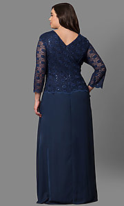 Image of plus-size mother-of-the-bride lace-bodice long dress. Style: SF-8837P Back Image