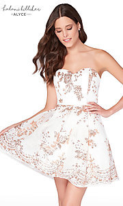 Image of diamond white short sequined homecoming dress. Style: AL-2650 Front Image
