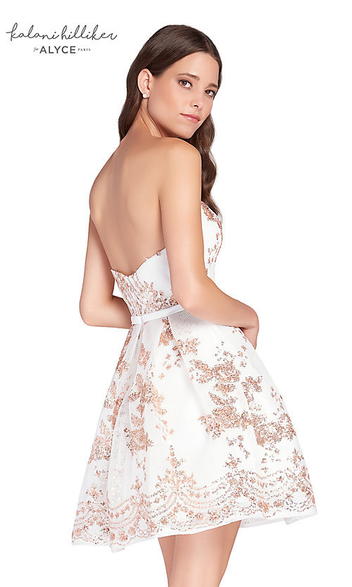 Image of diamond white short sequined homecoming dress. Style: AL-2650 Back Image
