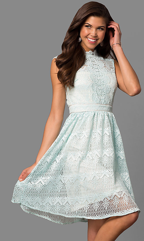 Cheap Semi Formal Knee Length Lace Party Dress