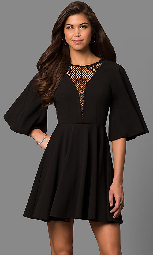 b49c8b2204f33 Image of short a-line party dress with bell sleeves. Style  LP-