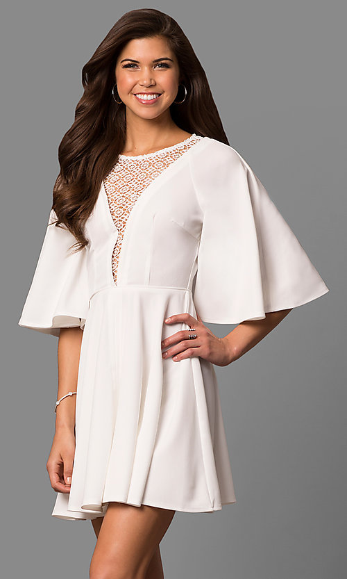 Image of short a-line party dress with bell sleeves. Style: LP-24581 Front Image