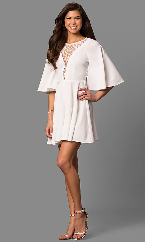 Image of short a-line party dress with bell sleeves. Style: LP-24581 Detail Image 1