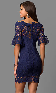 Image of bell-sleeve short lace wedding-guest party dress. Style: LP-27072 Back Image