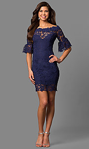 Image of bell-sleeve short lace wedding-guest party dress. Style: LP-27072 Detail Image 1