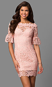 Image of bell-sleeve short lace wedding-guest party dress. Style: LP-27072 Detail Image 2