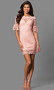Image of bell-sleeve short lace wedding-guest party dress. Style: LP-27072 Detail Image 3