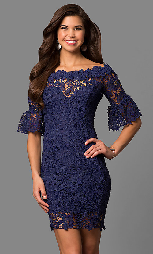 Image of bell-sleeve short lace wedding-guest party dress. Style: LP-27072 Front Image