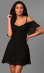 Image of cold-shoulder short casual party dress with ruffle. Style: SY-KD5089HY Detail Image 1