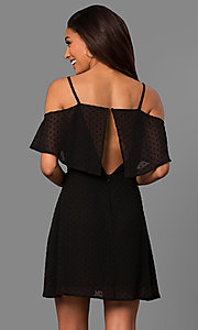 Image of cold-shoulder short casual party dress with ruffle. Style: SY-KD5089HY Detail Image 2