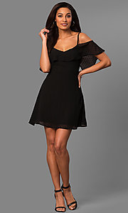 Image of cold-shoulder short casual party dress with ruffle. Style: SY-KD5089HY Detail Image 3