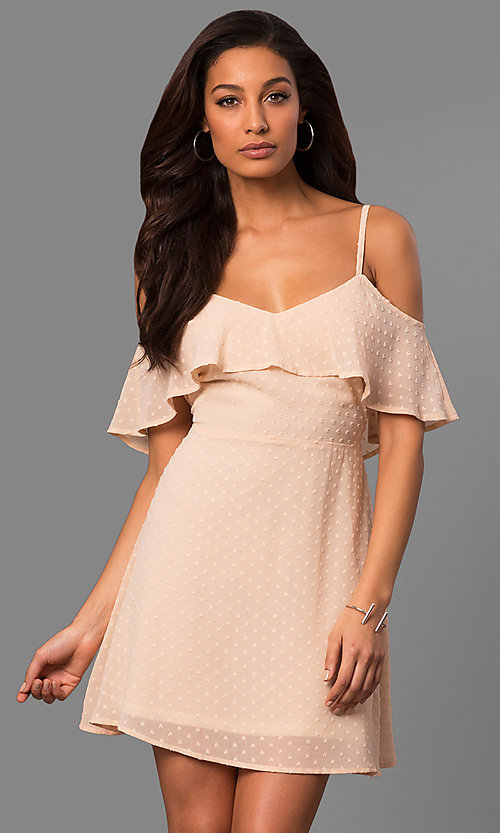 Image of cold-shoulder short casual party dress with ruffle. Style: SY-KD5089HY Front Image