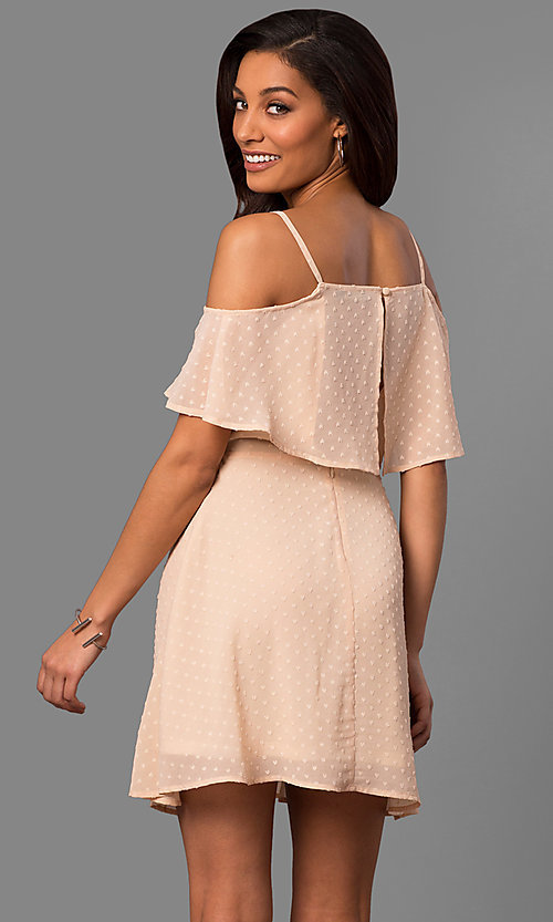 Image of cold-shoulder short casual party dress with ruffle. Style: SY-KD5089HY Back Image