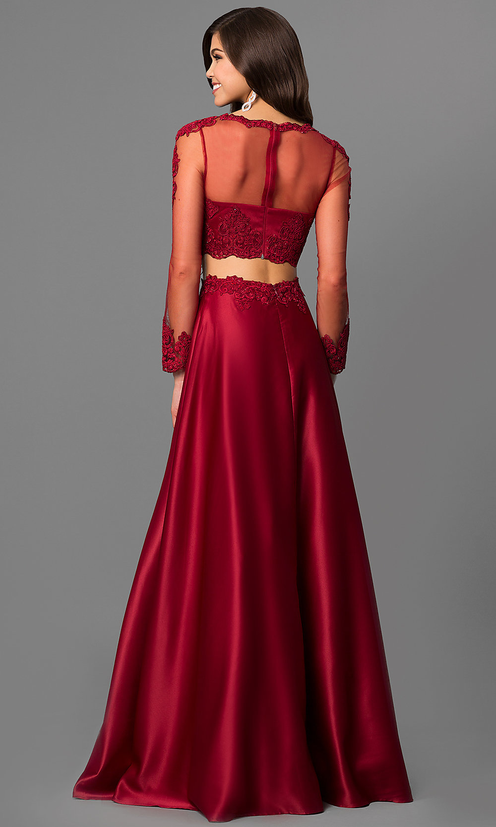 dress piece prom lace sleeves sleeve bodice dresses burgundy promgirl dq simplydresses