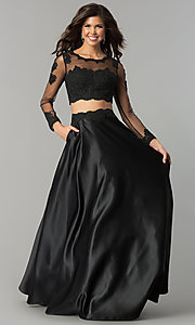 Image of two-piece lace-bodice long prom dress with sleeves. Style: DQ-9950 Front Image