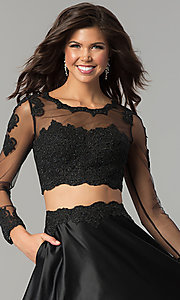 Image of two-piece lace-bodice long prom dress with sleeves. Style: DQ-9950 Detail Image 3