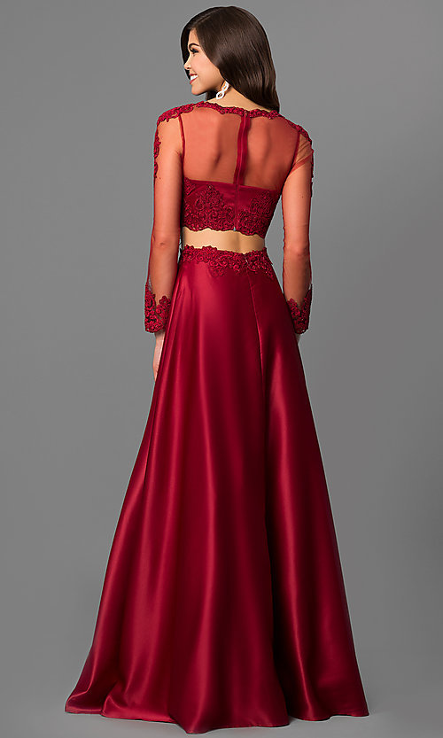 Image of two-piece lace-bodice long prom dress with sleeves. Style: DQ-9950 Back Image