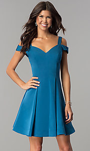 Image of cold-shoulder short homecoming party dress.  Style: DJ-A6109 Detail Image 3