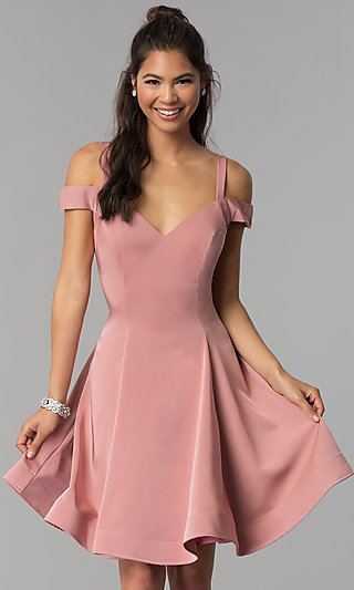Cold-Shoulder Short Homecoming Party Dress