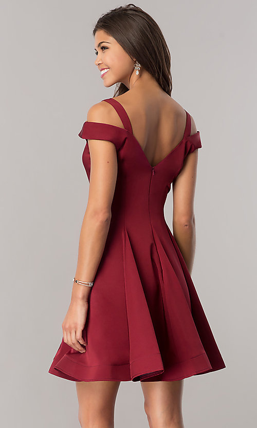 Image of cold-shoulder short homecoming party dress.  Style: DJ-A6109 Back Image