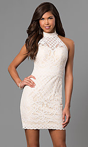 Image of short ivory white graduation party dress in lace.  Style: DJ-A5769 Front Image