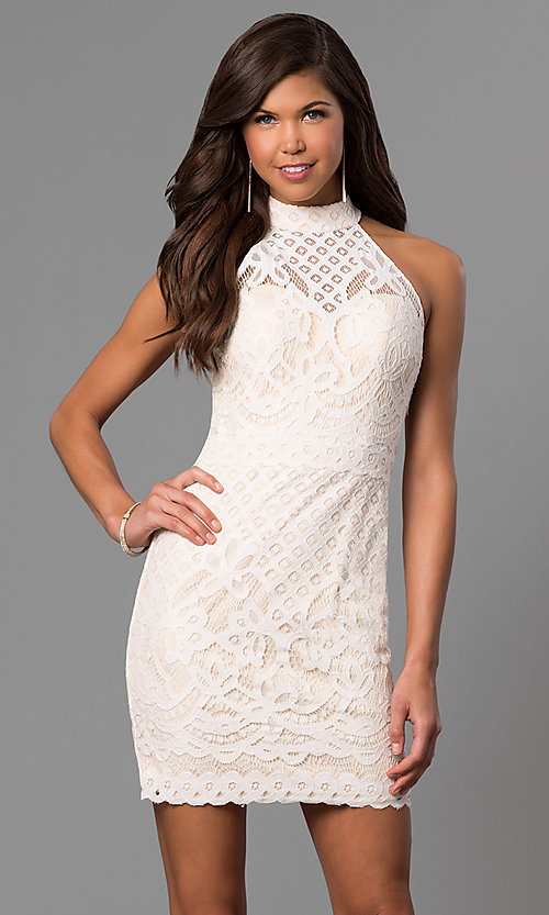 short graduation party dress in ivory white lace
