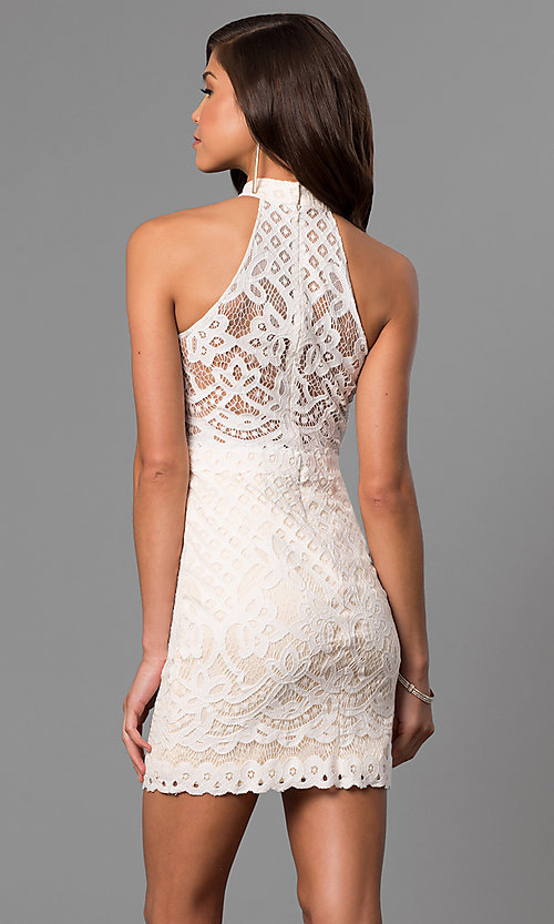 Image of short ivory white graduation party dress in lace.  Style: DJ-A5769 Back Image