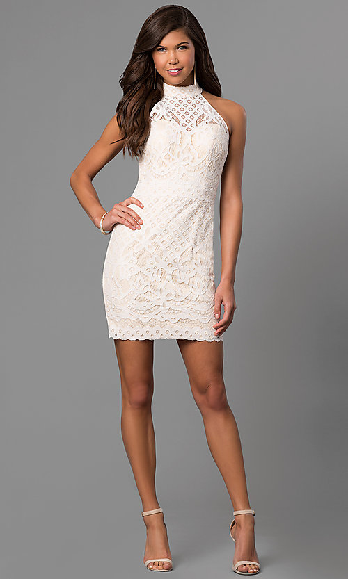 Image of short ivory white graduation party dress in lace.  Style: DJ-A5769 Detail Image 1