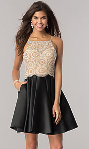 Image of satin black homecoming dress with beaded bodice. Style: DJ-A5406 Front Image