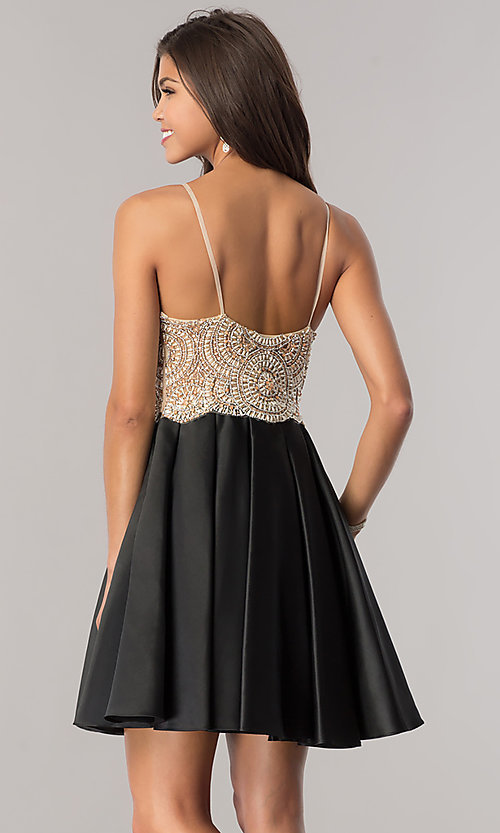 Image of satin black homecoming dress with beaded bodice. Style: DJ-A5406 Back Image