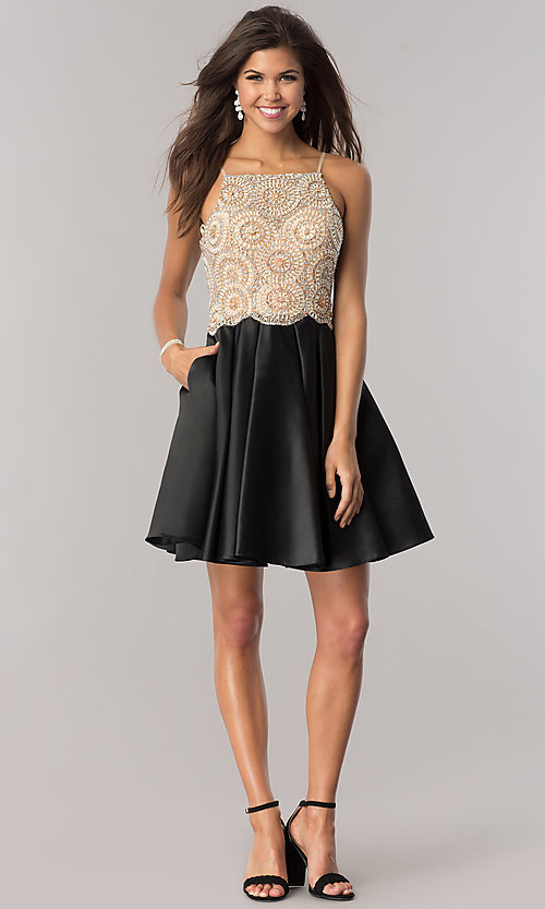 Image of satin black homecoming dress with beaded bodice. Style: DJ-A5406 Detail Image 2