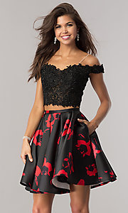 Image of short two-piece black and red print party dress. Style: DJ-A5733 Front Image