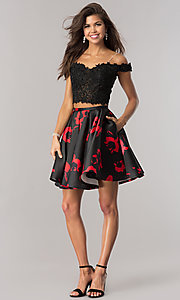 Image of short two-piece black and red print party dress. Style: DJ-A5733 Detail Image 2