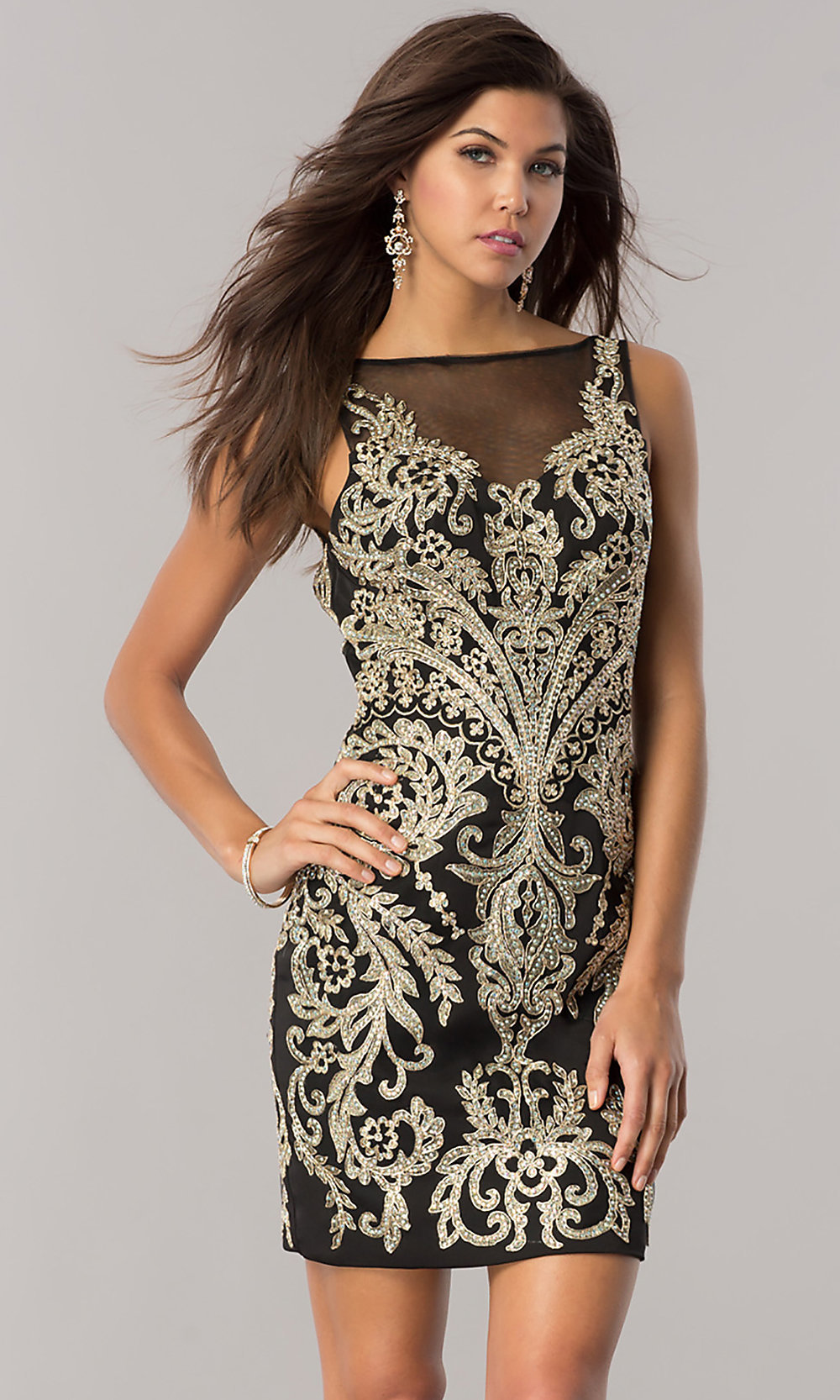 Embroidered Black And Gold Homecoming Dress