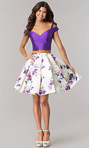 Image of cold-shoulder two-piece homecoming dress with print. Style: DJ-A6111 Detail Image 1