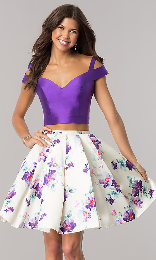 Image of cold-shoulder two-piece homecoming dress with print. Style: DJ-A6111 Front Image