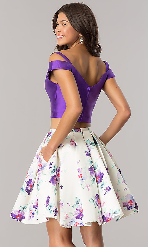 Image of cold-shoulder two-piece homecoming dress with print. Style: DJ-A6111 Back Image
