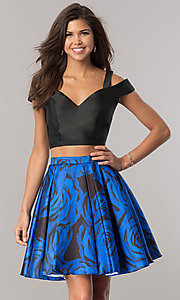 Image of print two-piece satin homecoming dress with pockets. Style: DJ-A6110 Front Image