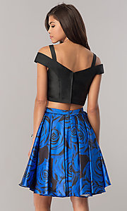 Image of print two-piece satin homecoming dress with pockets. Style: DJ-A6110 Back Image