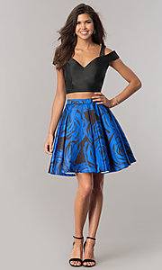 Image of print two-piece satin homecoming dress with pockets. Style: DJ-A6110 Detail Image 1